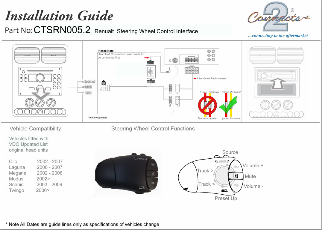 Renault Clio 2002 Stereo Wiring Diagram Manual Of Megane Scenic Laguna Steering Wheel Adaptor Ctsrn005 2 Rh Ebay Com Radio